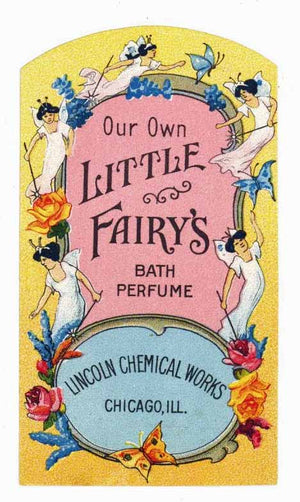 Our Own Little Fairy's Brand Vintage Bath Perfume Bottle Label