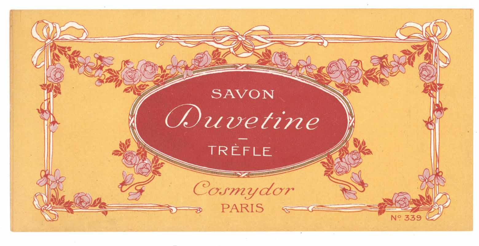 Savon Duvetine Brand Vintage French Soap Label