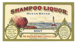 Ocean Brand Vintage Denver Colorado Shampoo Liquor Bottle Label