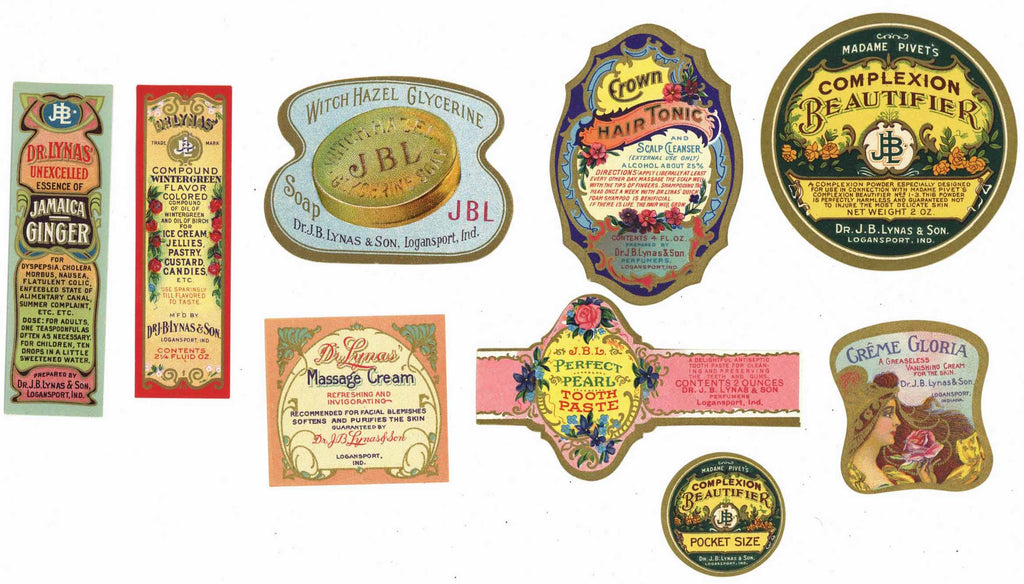 Dr. Lynas Vintage Cosmetic And Health Labels, set of 9