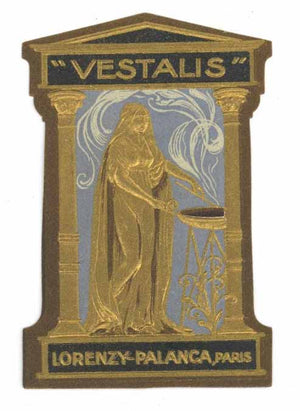 Vestalis Brand Vintage Paris France Perfume Bottle Label