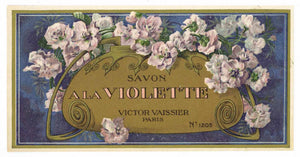 Savon A La Violette Brand Vintage French Soap Box Label, roses