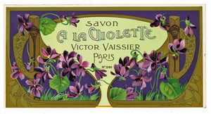 Savon A La Violette Brand Vintage French Soap Box Label, Violets