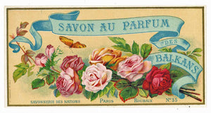Savon Au Parfum Des Balkans Brand Vintage French Soap Box Label