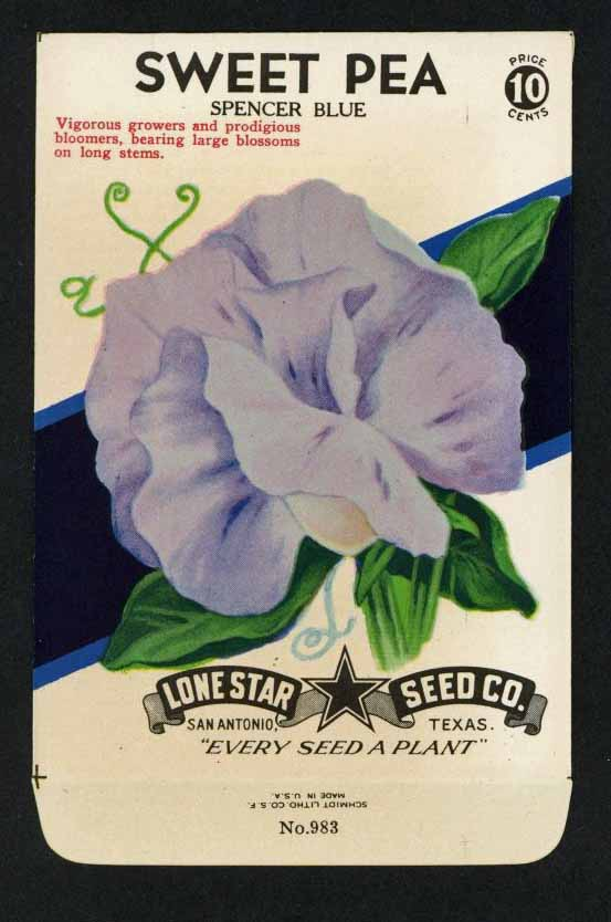 Sweet Pea Vintage Lone Star Seed Packet, Spencer Blue