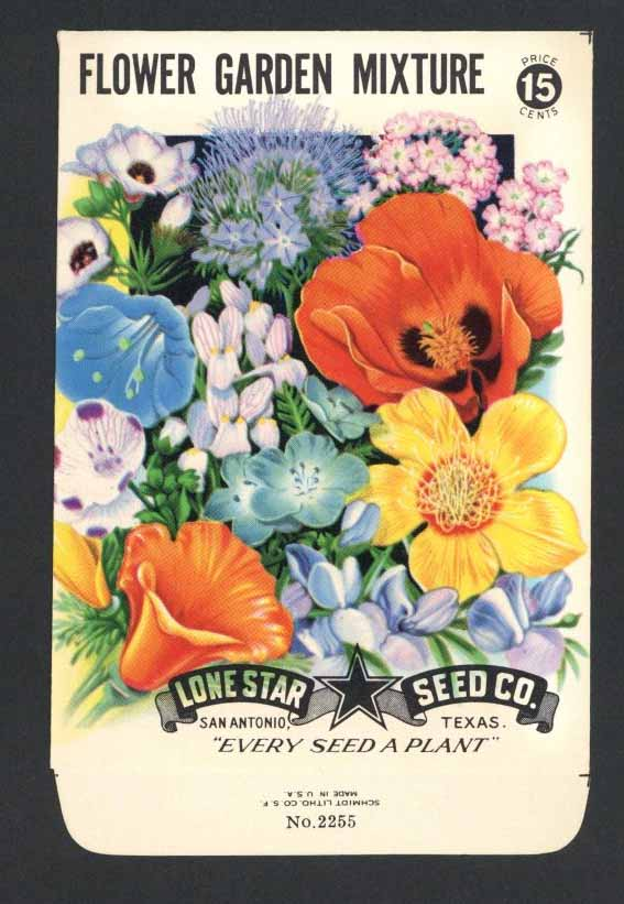 Flower Garden Mixture Vintage Lone Star Seed Packet