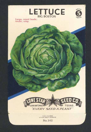 Lettuce Vintage Lone Star Seed Packet, Big Boston