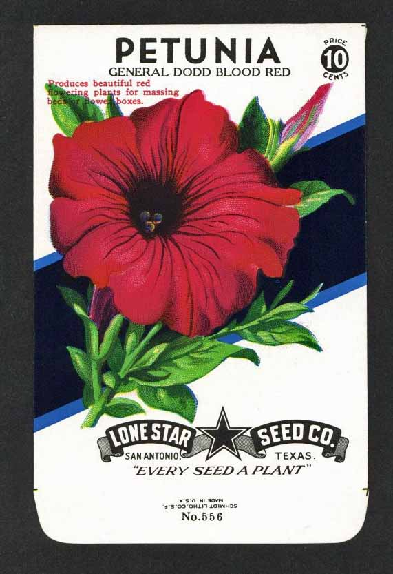 Petunia Vintage Lone Star Seed Packet, Dodd Blood Red
