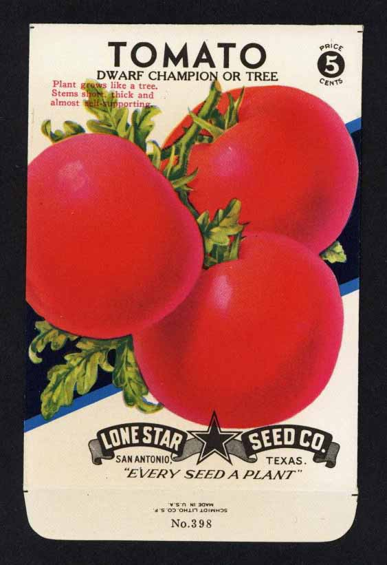 Tomato Vintage Lone Star Seed Packet, Champion