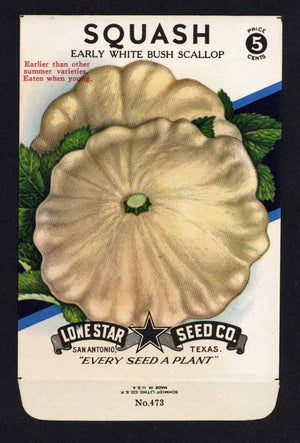 Squash Vintage Lone Star Seed Packet, Scallop