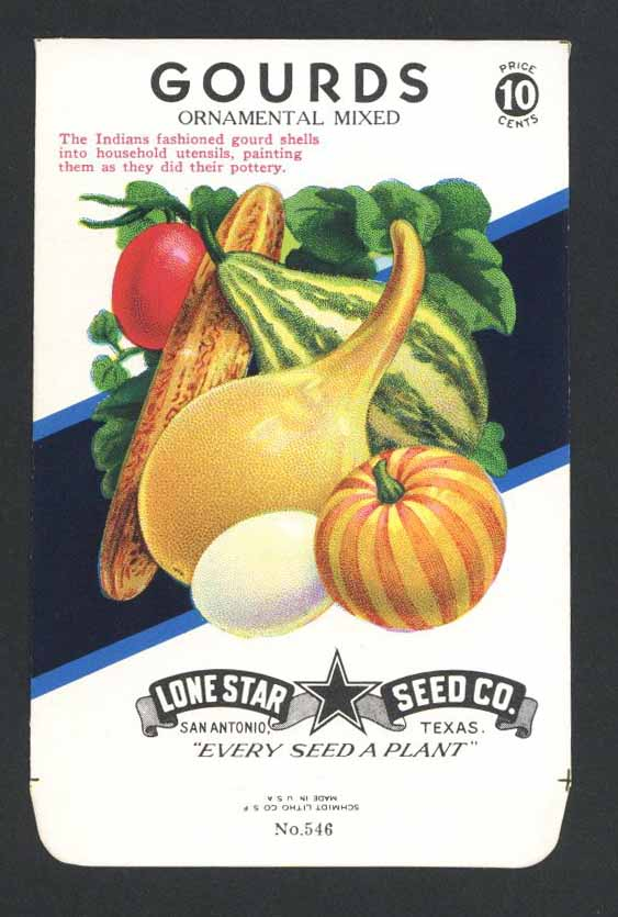 Gourds Vintage Lone Star Seed Packet