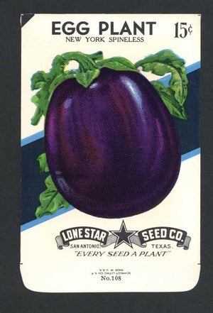 Egg Plant Vintage Lone Star Seed Packet