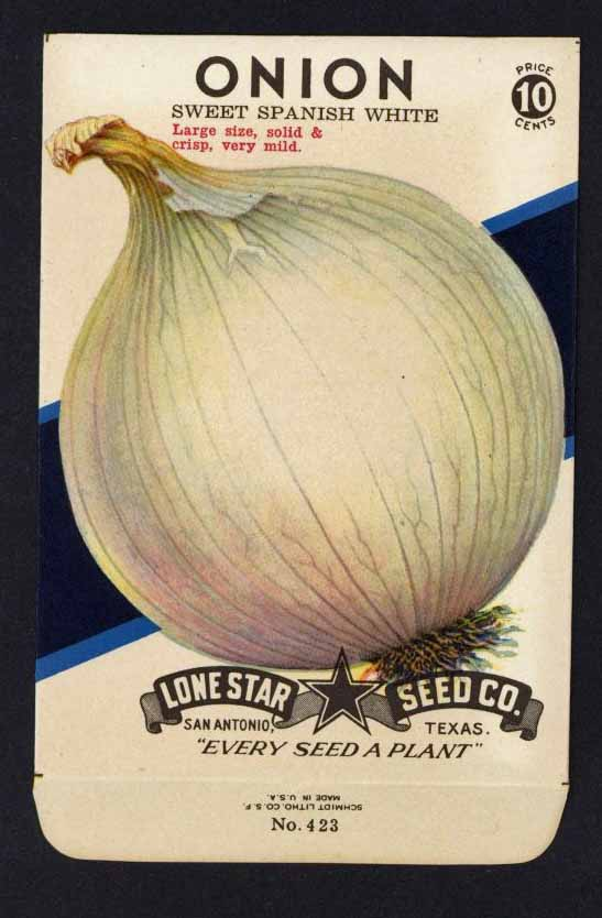 Onion Vintage Lone Star Seed Packet, Spanish White