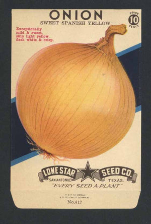Onion Vintage Lone Star Seed Packet, Spanish Yellow