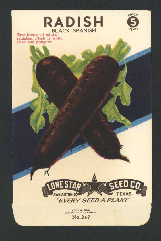 Radish Vintage Lone Star Seed Packet, Black Spanish