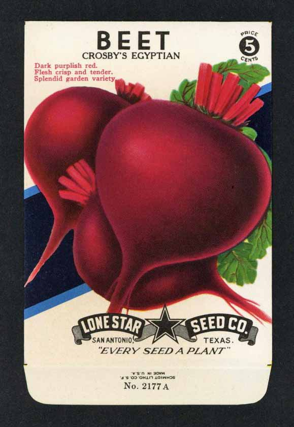 Beet Vintage Lone Star Seed Packet, Crosby's Egyptian