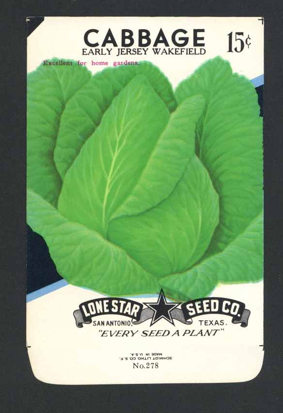 Cabbage Vintage Lone Star Seed Packet, Jersey Wakefield