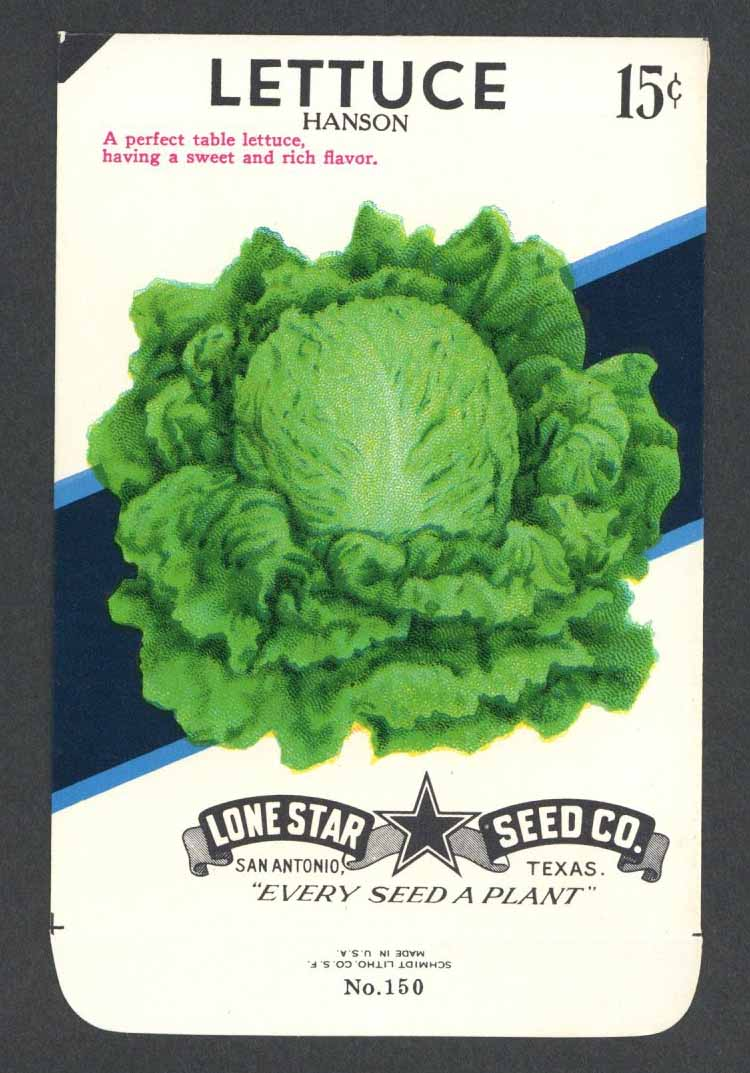 Lettuce Vintage Lone Star Seed Packet, Hanson
