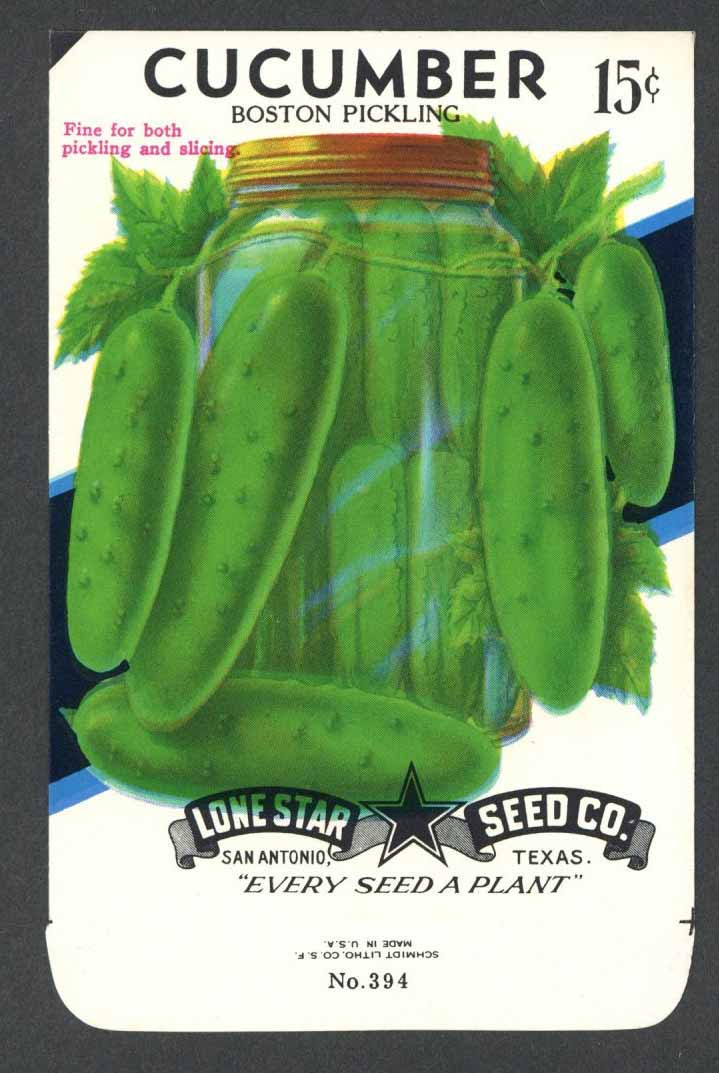 Cucumber Vintage Lone Star Seed Packet, Boston Pickling