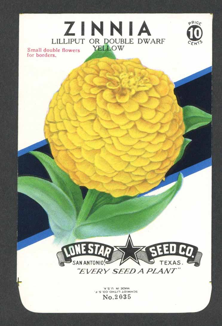 Zinnia Vintage Lone Star Seed Packet, Double Yellow