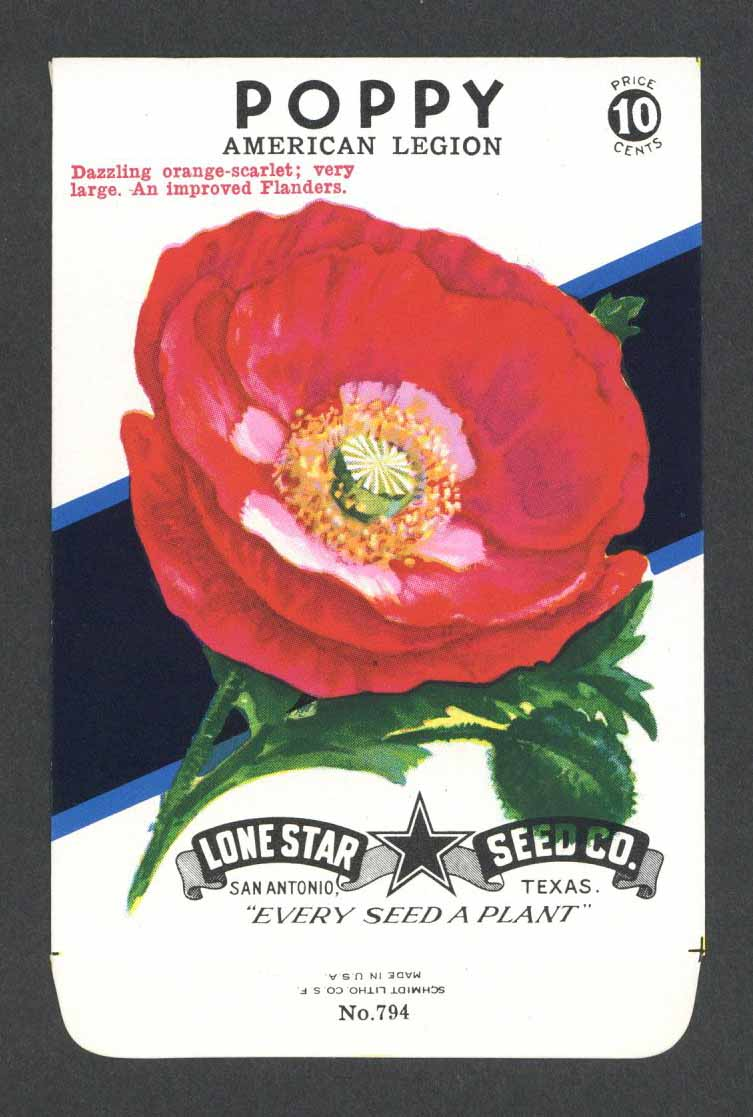 Poppy Vintage Lone Star Seed Packet, American Legion