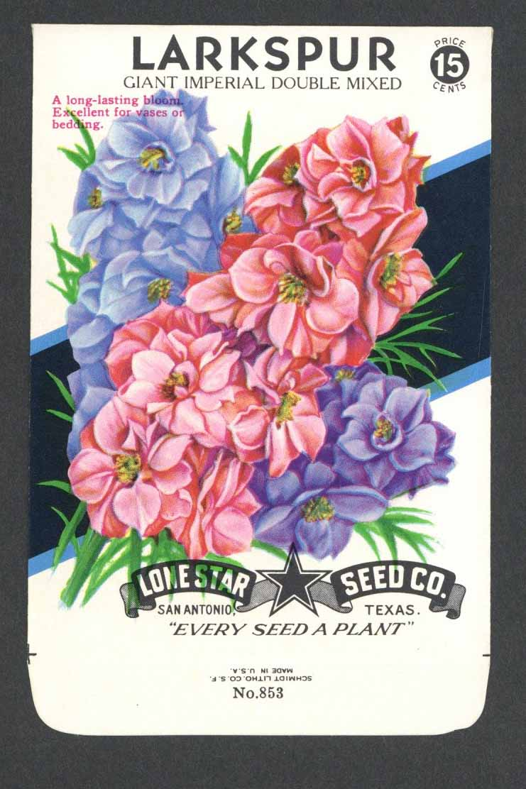 Larkspur Vintage Lone Star Seed Packet