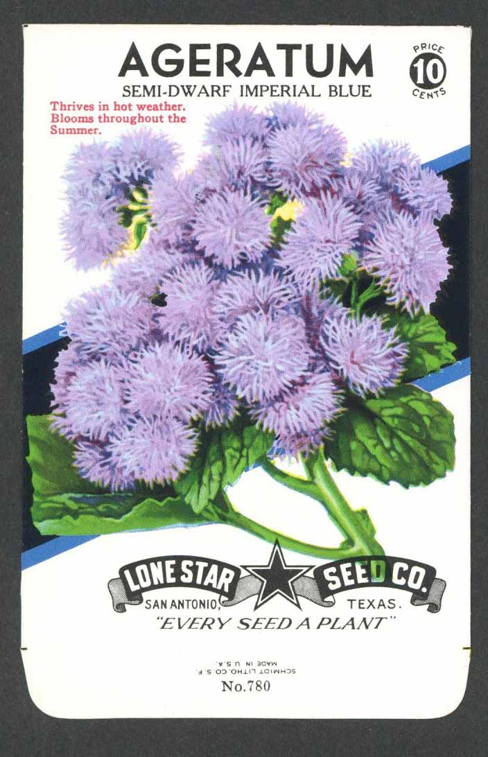 Ageratum Vintage Lone Star Seed Packet