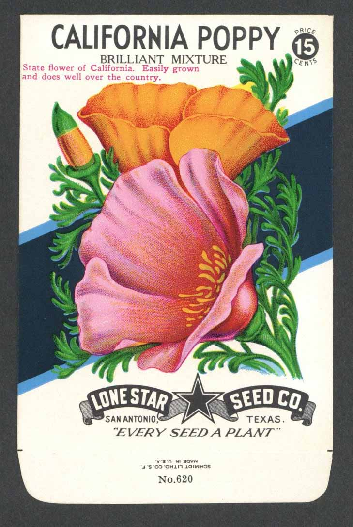 California Poppy Vintage Lone Star Seed Packet