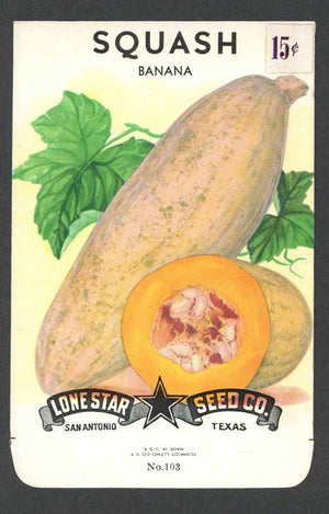 Squash Vintage Lone Star Seed Packet, Banana