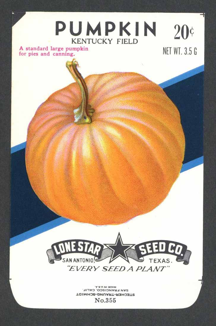 Pumpkin Vintage Lone Star Seed Packet, Kentucky Field