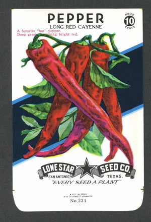 Pepper Vintage Lone Star Seed Packet, Red Cayenne