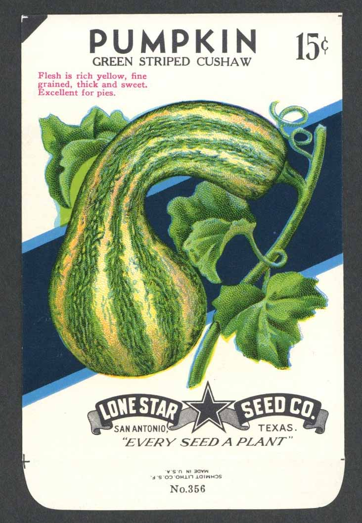Pumpkin Vintage Lone Star Seed Packet, Striped Cushaw
