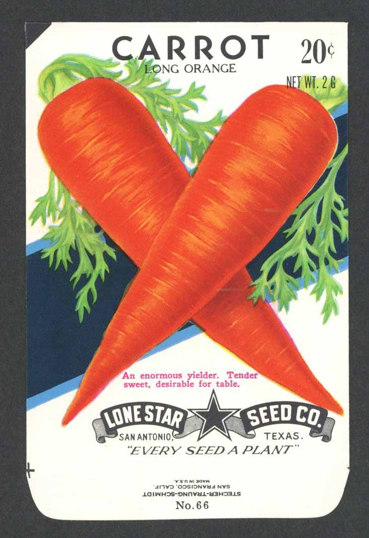Carrot Vintage Lone Star Seed Packet, Long
