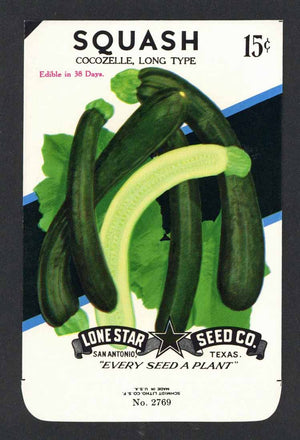 Squash Vintage Lone Star Seed Packet, Cocozelle