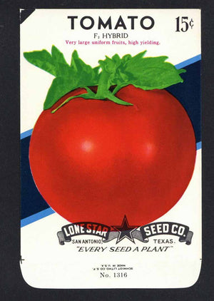 Tomato Vintage Lone Star Seed Packet, F Hybrid