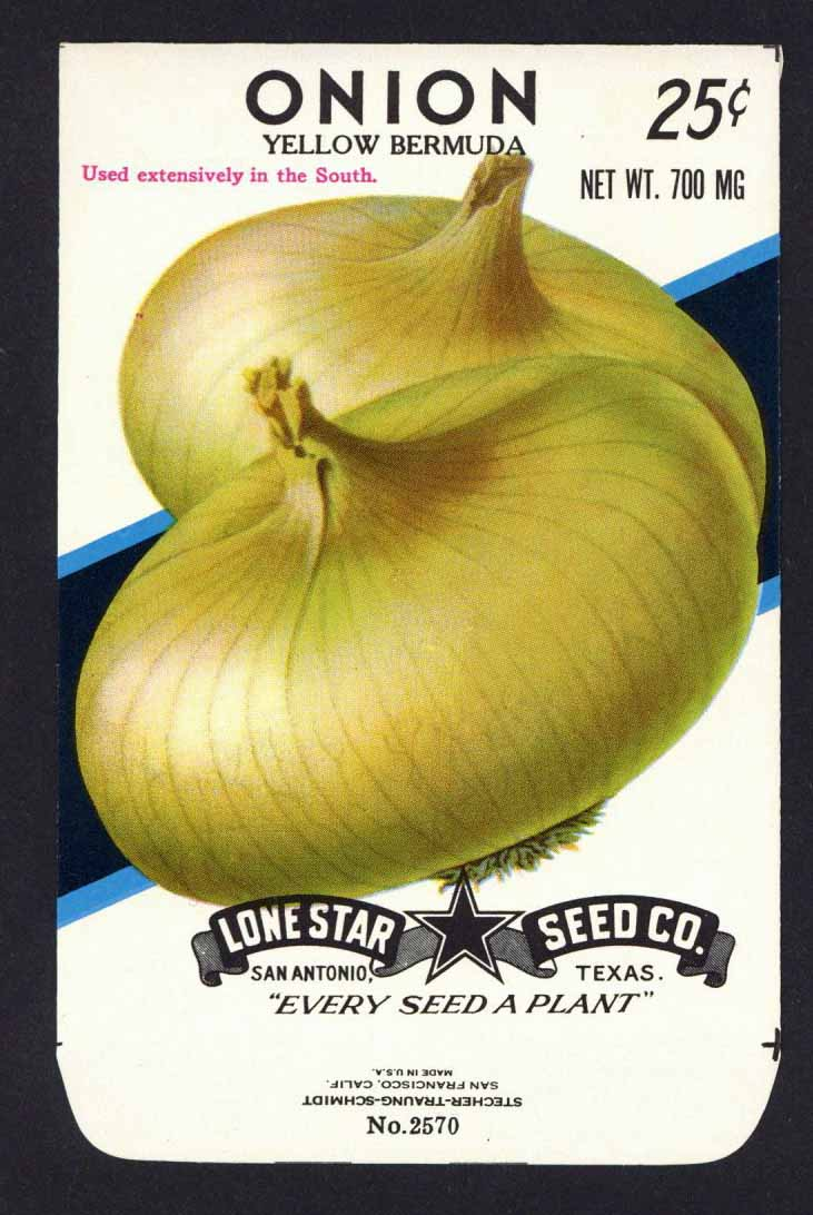 Onion Vintage Lone Star Seed Packet, Yellow Bermuda