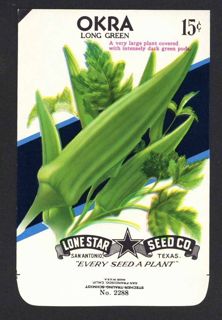 Okra Vintage Lone Star Seed Packet, Long Green