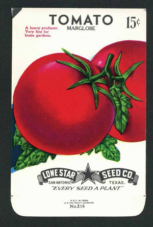 Tomato Vintage Lone Star Seed Packet, Marglobe