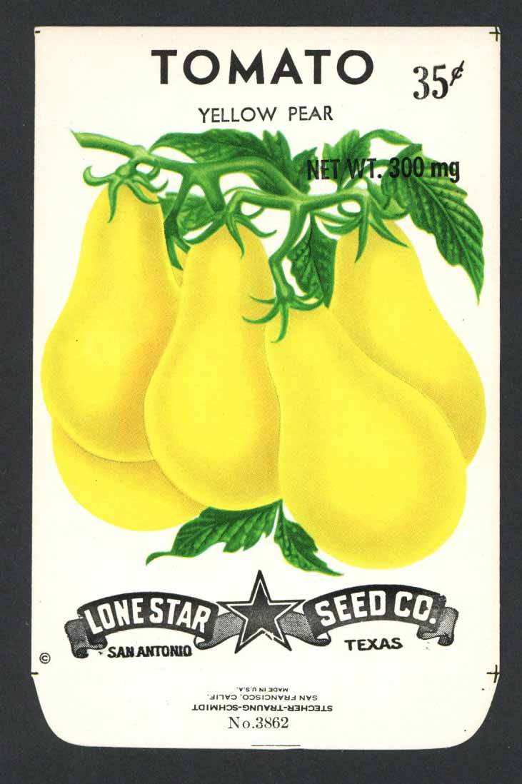 Tomato Vintage Lone Star Seed Packet, Yellow p