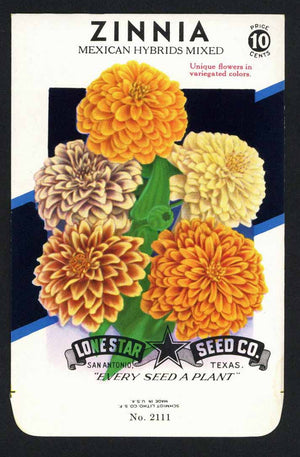 Zinnia Vintage Lone Star Seed Packet, Mexican Hybrids