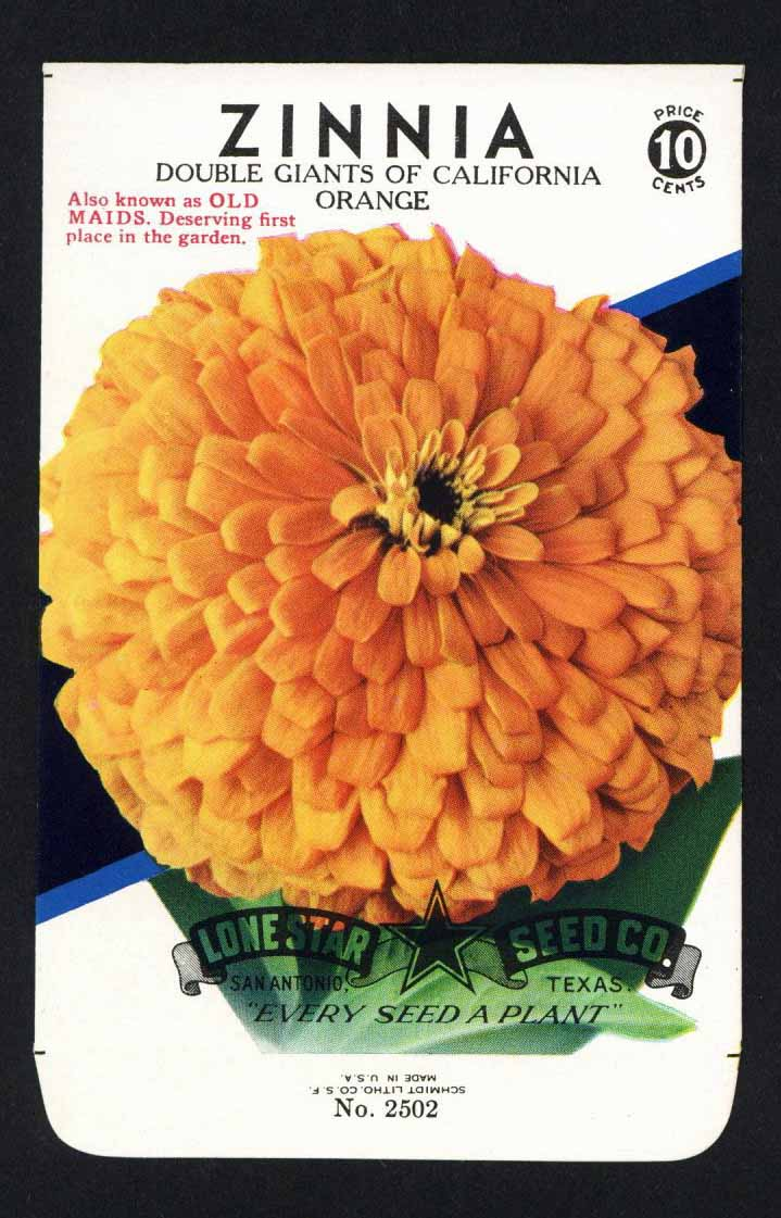 Zinnia Vintage Lone Star Seed Packet, Giants of California