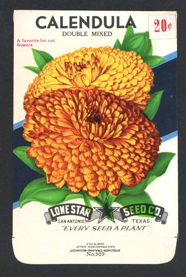 Calendula Vintage Lone Star Seed Packet, Double