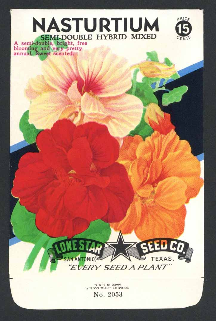 Nasturtium Vintage Lone Star Seed Packet, Semi-Double