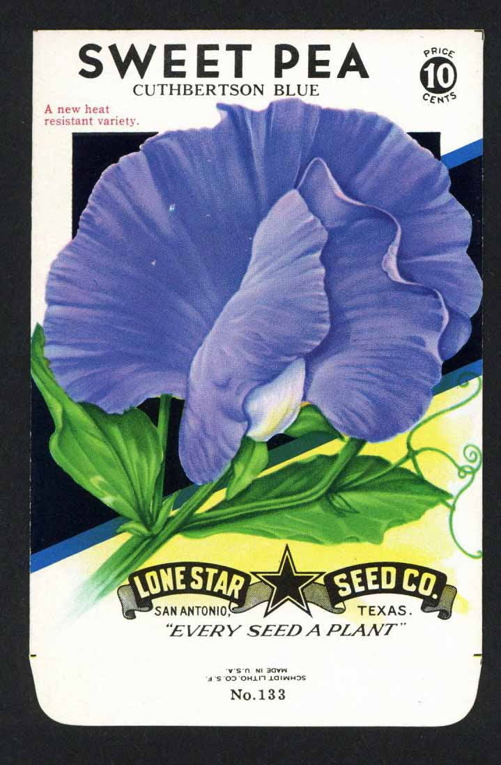 Sweet Pea Vintage Lone Star Seed Packet, Cuthbertson blue