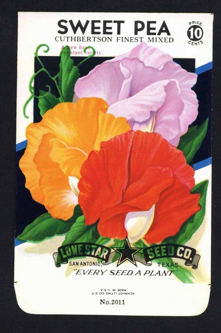 Sweet Pea Vintage Lone Star Seed Packet, Cuthbertson