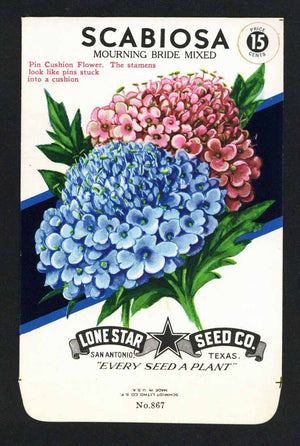 Scabiosa Vintage Lone Star Seed Packet