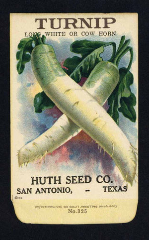 Turnip Antique Huth Seed Co. Packet, Long White or Cow Horn