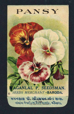 Pansy Antique Maganlal Seed Packet, India, red, white
