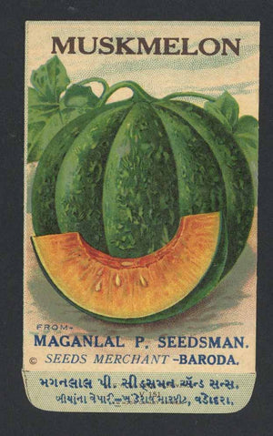 Muskmelon Antique Maganlal Seed Packet, India, slice