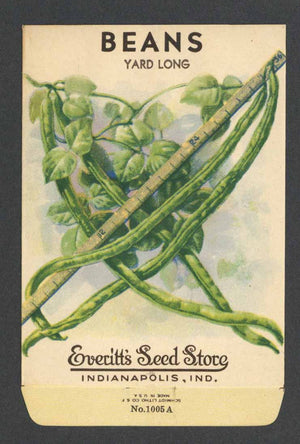 Beans Vintage Everitt's Seed Packet, Yard Long